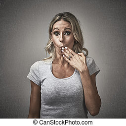 Woman with guilty face expression. - Young woman with guilty...
