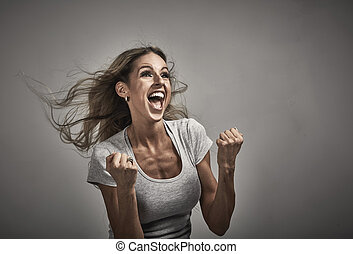Young happy laughing girl portrait. - Young happy excited...