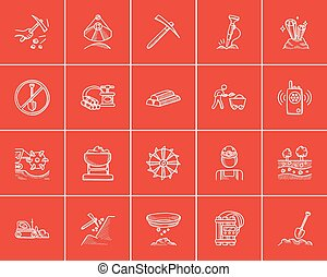 Mining industry sketch icon set. - Mining industry sketch...