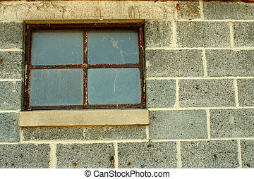 Concrete block wall with window - A Concrete block wall with...