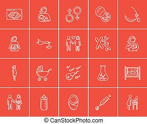 Maternity sketch icon set. - Maternity sketch icon set for...