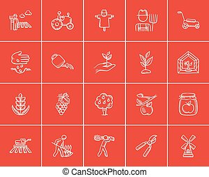 Agriculture sketch icon set - Agriculture sketch icon set...