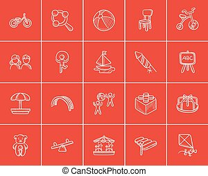 Kids sketch icon set. - Kids sketch icon set for web, mobile...