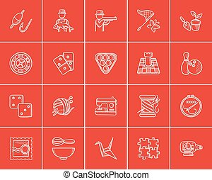 Hobby sketch icon set. - Hobby sketch icon set for web,...