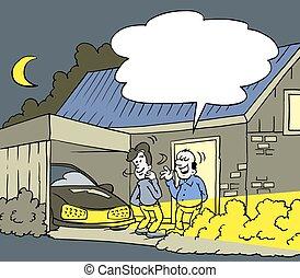 New Neighbor led bulbs on the car - Cartoon illustration of...