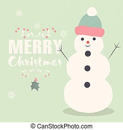 Merry Christmas lettering postcard with smiling Snowman
