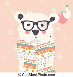 Merry Christmas postcard with hipster polar white bear wearing scarf