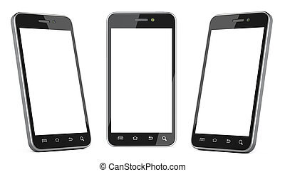 Black smartphone with blank screen left, right and front...