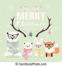 Merry Christmas lettering with hipster polar bears, fox and...