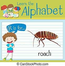 Flashcard letter R is for roach illustration
