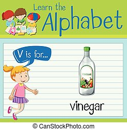 Flashcard letter V is for vinegar illustration