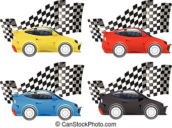 Racing cars in four colors illustration