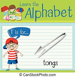 Flashcard letter T is for tongs illustration