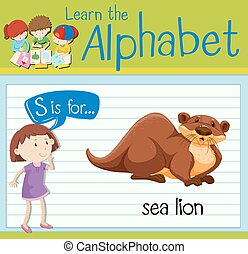Flashcard letter S is for sea lion illustration
