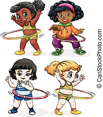 Four girls playing hulahoops