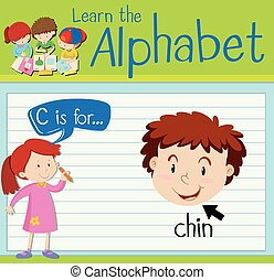Flashcard letter C is for chin illustration
