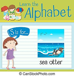 Flashcard letter S is for sea otter illustration