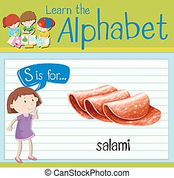 Flashcard letter S is for salami illustration