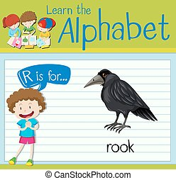 Flashcard letter R is for rook illustration