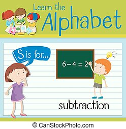 Flashcard letter S is for subtraction