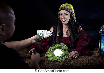 Swindler Gypsy Fortune Teller Committing Fraud - Female...