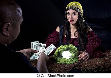 Swindler Gypsy Fortune Teller Committing Fraud - Female...