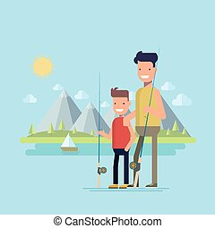 Father and son going fishing. Happy child spends time with his father on a fishing trip. Active outdoor recreation. Family on a background of lake and mountains. Flat vector illustration.