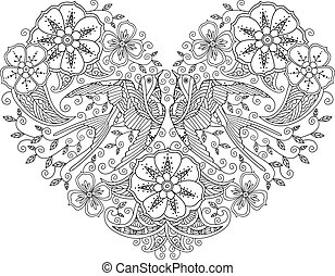 Coloring page with pair of beautiful flying birds in heart...