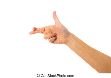 Woman's hand showing crossed fingers - White woman's hand...