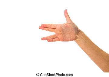 Womans hand showing spoke - White womans hand showing spoke...