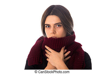 Woman with vinous scarf - Young sad woman with dark hair in...