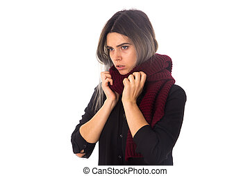 Woman with vinous scarf - Young woman with grey hair in...