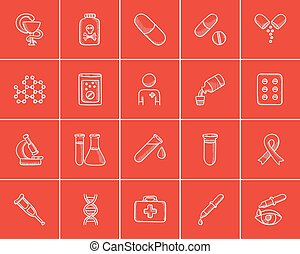 Medicine sketch icon set - Medicine sketch icon set for web,...