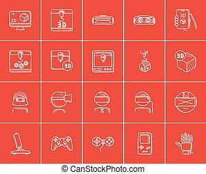 Technology sketch icon set. - Technology sketch icon set for...