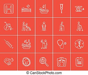 Medicine sketch icon set. - Medicine sketch icon set for...