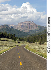 Two Lane Road Transportation Yellowstone National Park...