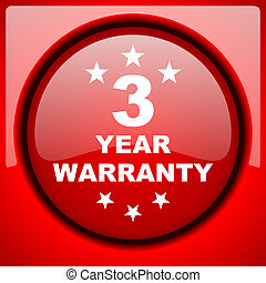 warranty guarantee 3 year red icon plastic glossy button