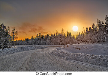Polar Night Sunset over road in Finland - Bright Colorful...
