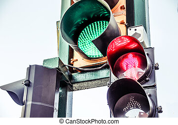 Traffic light on urban scenario - Photograph of a traffic...