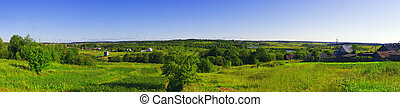 Rural panoramic view with trees and river