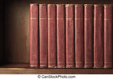 Row of Old Books on Shelf with Vintage Effect - A row of...