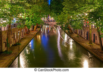 Night Oudegracht and bridge, Utrecht, Netherlands - Unique...