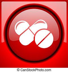 medicine red icon plastic glossy button