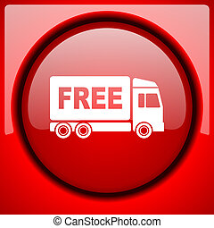 free delivery red icon plastic glossy button