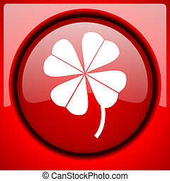 four-leaf clover red icon plastic glossy button