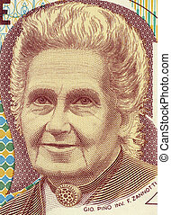 Maria Montessori 1870-1952 on 1000 Lire 1990 Banknote from...