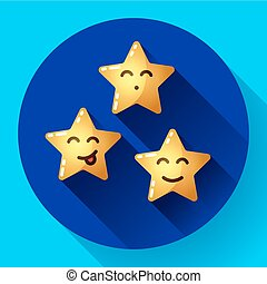 Smiley cartoon stars with various facial expressions and emotions.