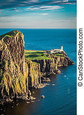Breathtaking dusk at the Neist point lighthouse in Isle of...