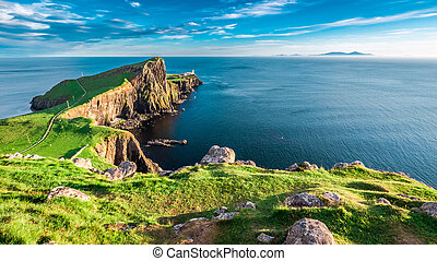 Stunning dusk at the Neist point lighthouse in Isle of Skye,...