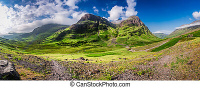 Breathtaking panorama of the mountains in Glencoe at...